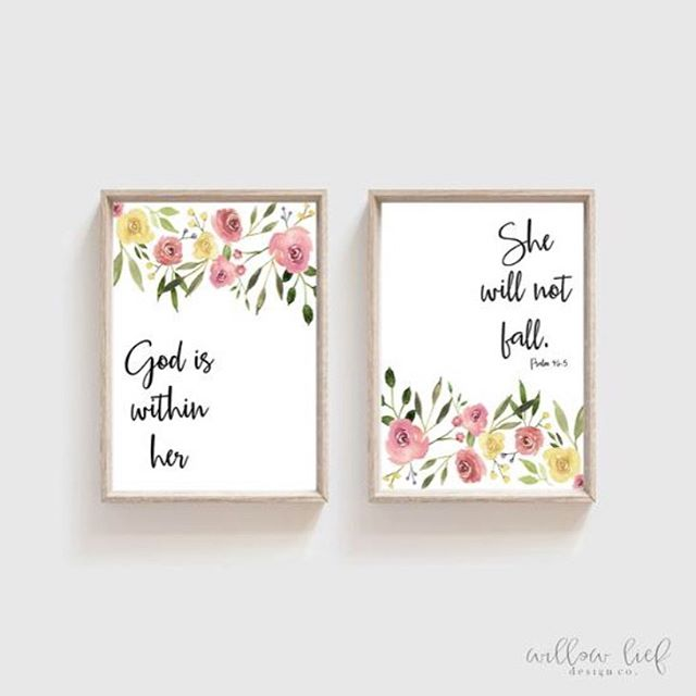 God is within her she will not fall. (2 Prints). Loved doing this commission for my sweet nieces nursery!💕 #babynursey #babynuserydecor #nurserywalldecor #babyroomart #watercolor #watercolorarts  #etsyshops #etsysellerofinstagram #christancreative #shepaintstruth #godiswithinher