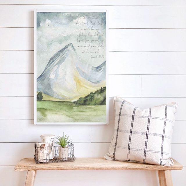 "This mountain piece was created as a collaboration project of ""Illustrated Scripture"" that came from the heart of Blake McDaniel from rootedandgroundedhome . I was blessed to be able to put paint to her vision!! #shepaintstruth #watercolor #christiancreative #watercolour #bibleverse #art #watercolorpainting #walldecor #wallart #homedecor #mountainpaintings #walldecorations #walldecors #artwork #etsyshops #etsyseller #watercolorart #farmhouseart #farmhousedecoration"