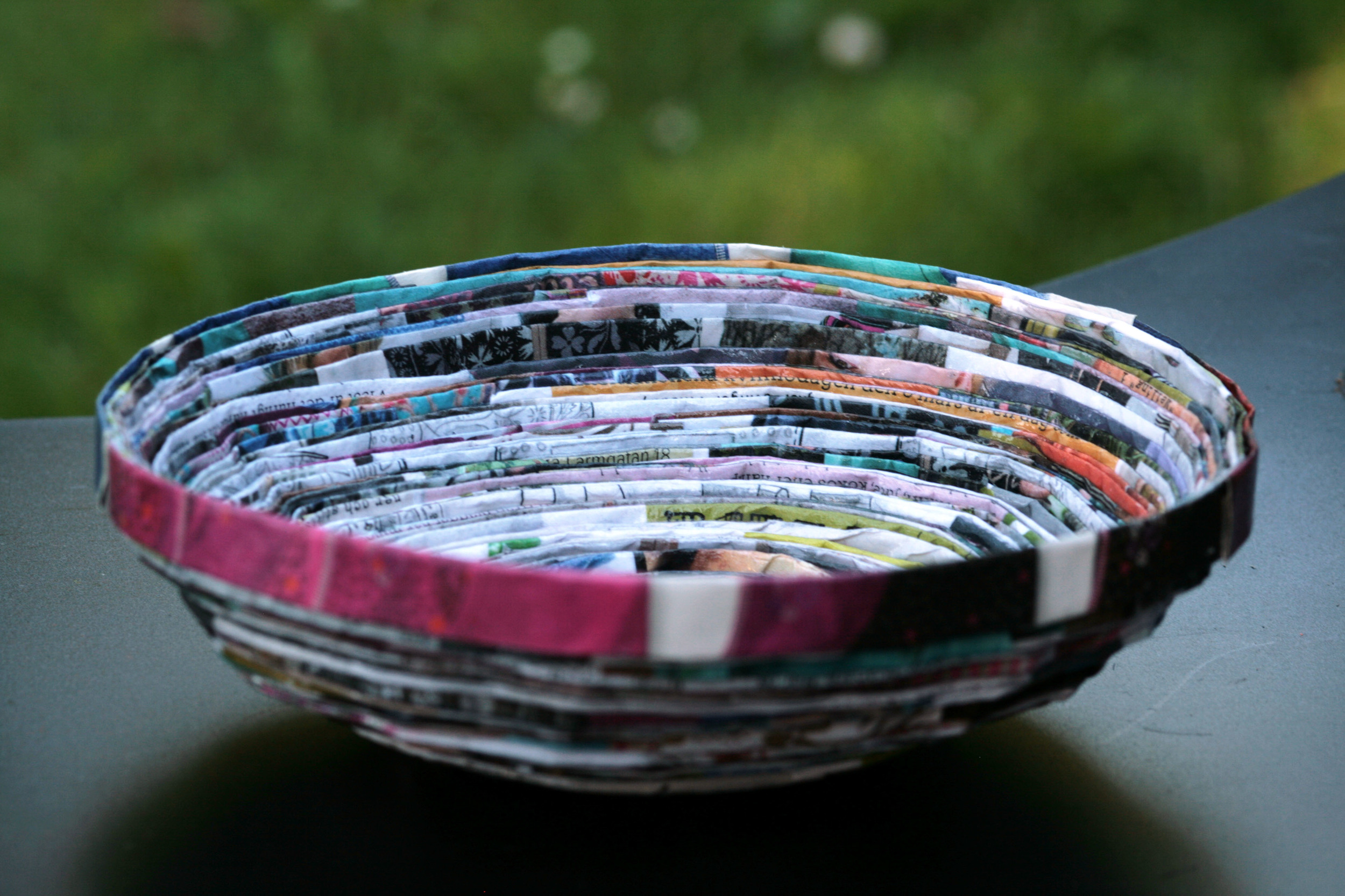 Bowl made of a magazine.
