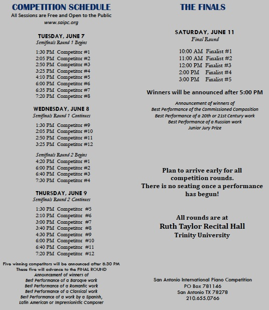 SAIPC schedule, more information can be seen on www.saipc.org