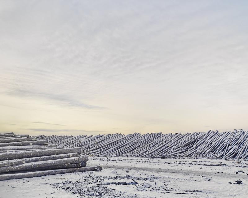 Lumber Yard, HWY-63, Chard, Alberta, Canada. February 2017