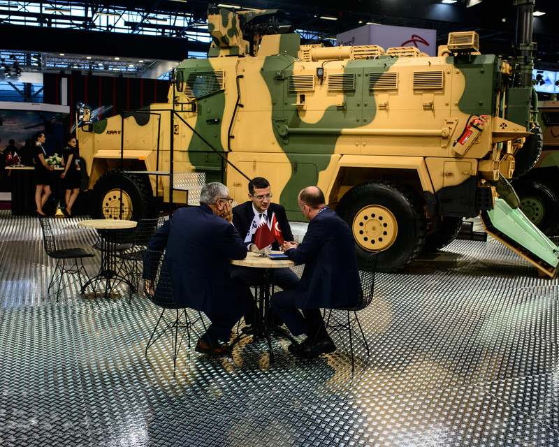 Stand of the Turkish company BMC DEFENSE during Eurosatory 2018. Eurosatory is one of the most important weapons show to the world.