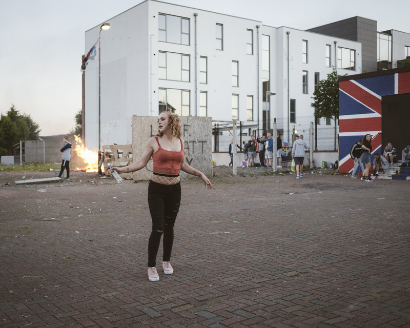 Patricia, teenage girl dancing at 11th Night celebraions, Protestant Loyalist Lower Shankill area, Belfast