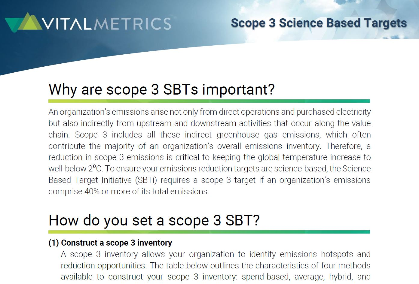 BROCHURE:  Scope 3 Science Based Targets
