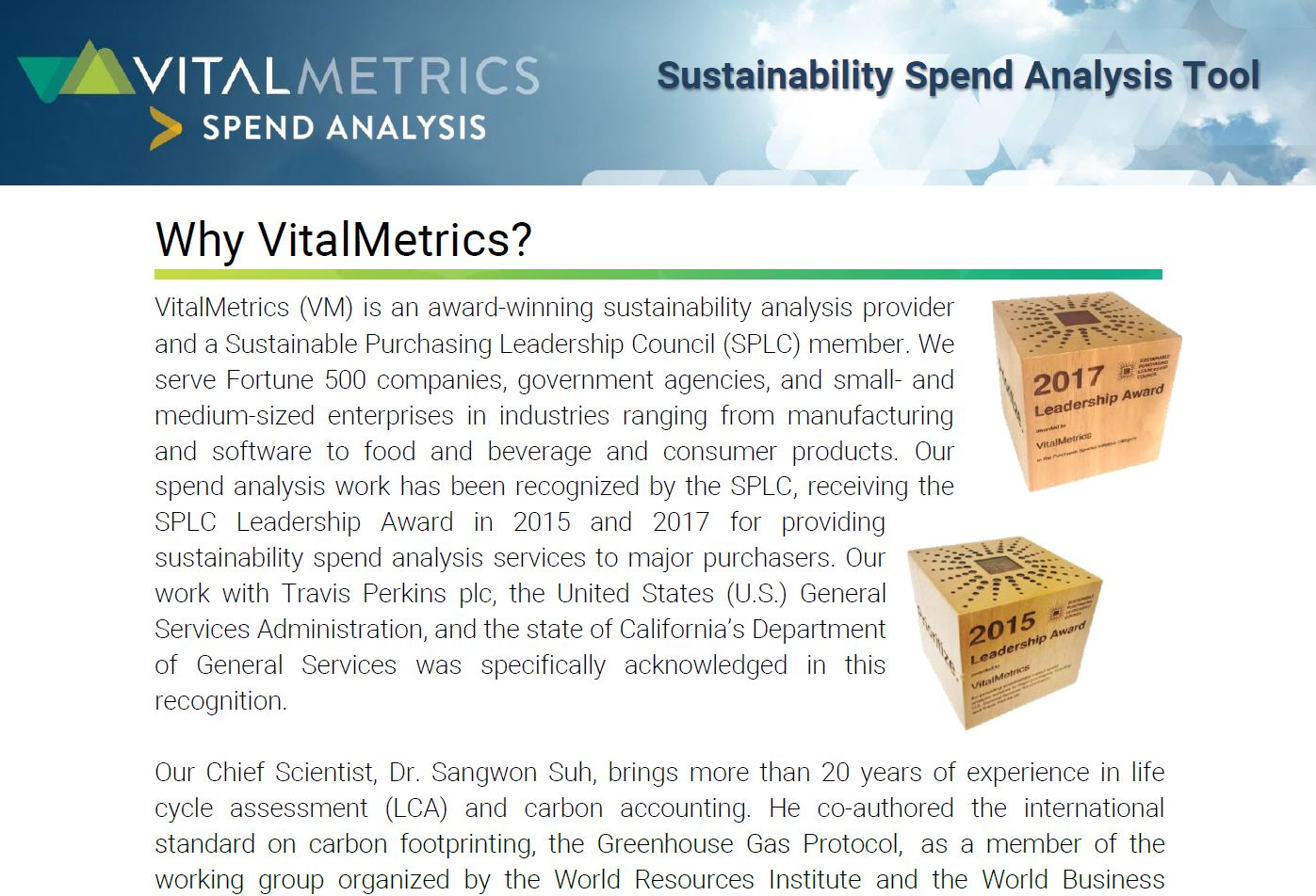 BROCHURE:  Sustainability spend Analysis Tool