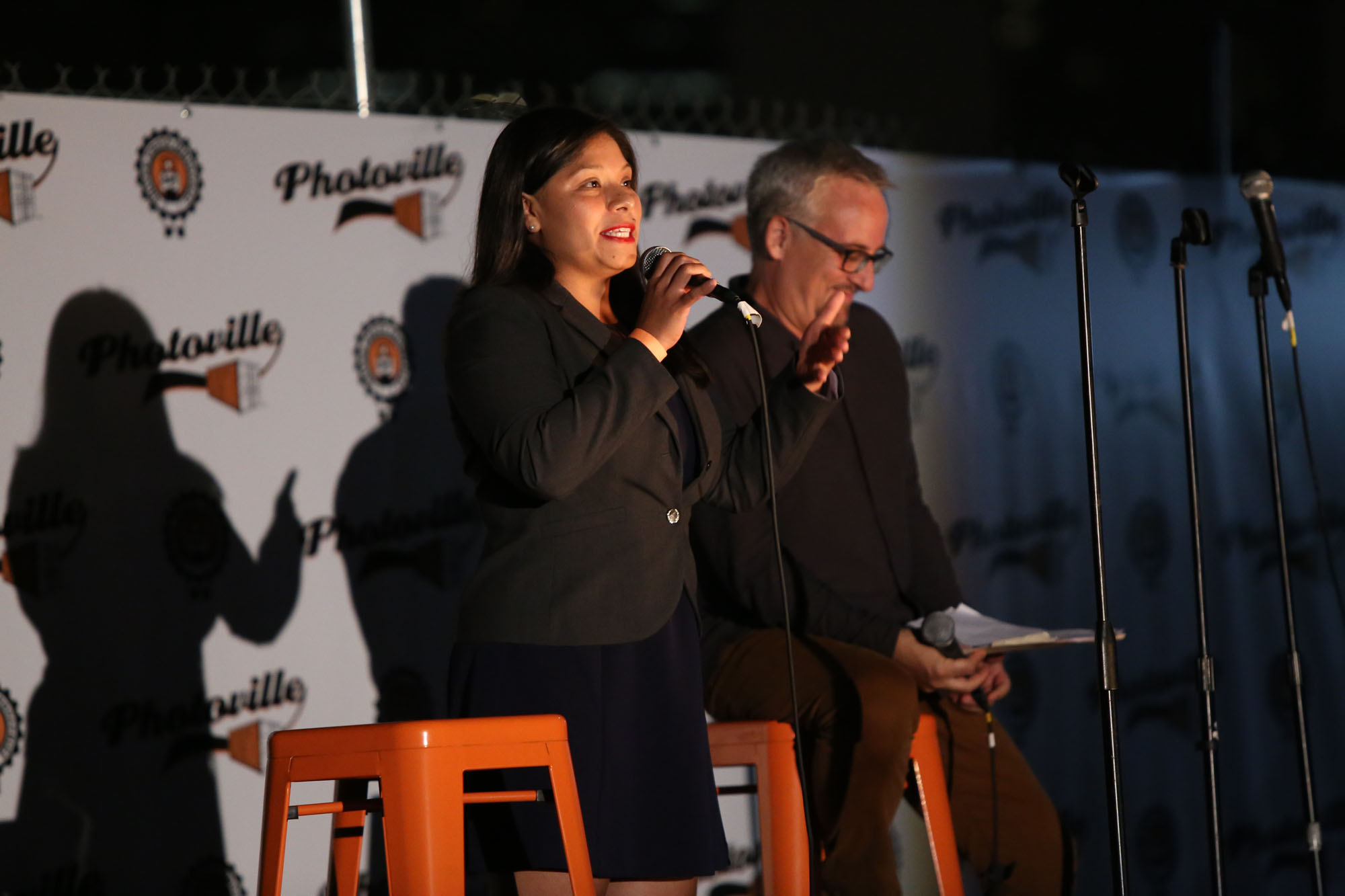 Marisol Conde-Hernandez and Tim Raphael talk about undocumented immigrants in the U.S. and their precarious position in the current political climate. (Photo by Anthony Alvarez)