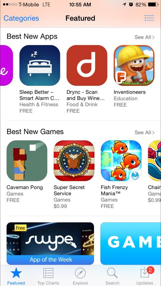 Drync featured on App Store