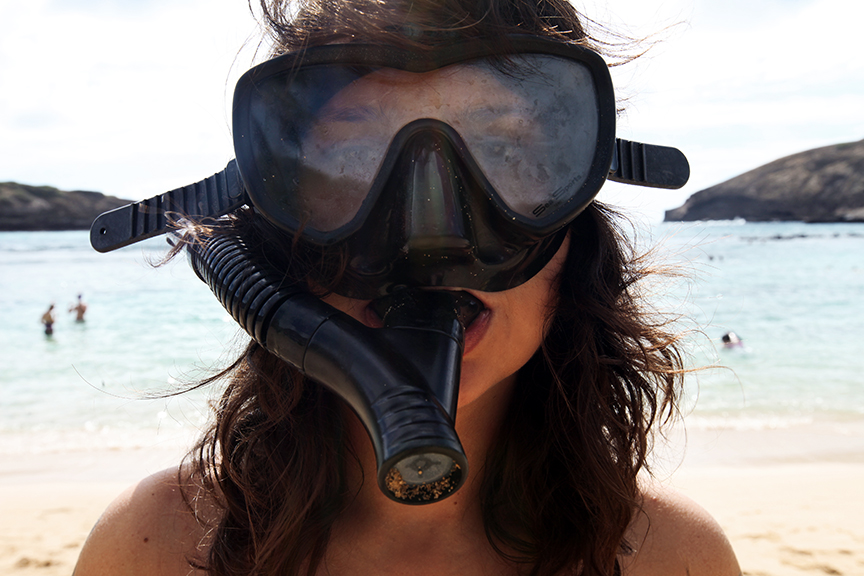 Honolulu, HI / October 29, 2011 - Stella and I like to snorkel when possible...and when appropriate.