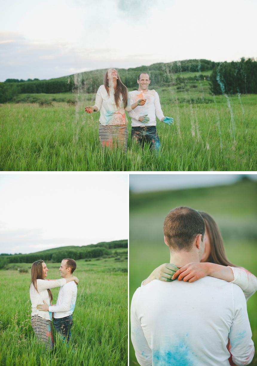 Calgary Holi Powder Engagement Photography