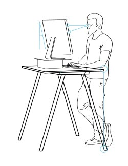 Note: You should never stand at your desk with your body weight slouched on one leg such as the above image!
