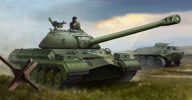 5545, 1/35 Soviet T-10 Heavy Tank NEW TOOL The T-10 was a Soviet heavy tank of the Cold War, the final development of the KV and IS tank series. During development, it was called IS-8 and IS-9, and began production in 1952. The biggest differences from the IS-3, were a longer hull, seven pairs of road wheels, a larger turret mounting a new gun with fume extractor, an improved diesel engine, and increased armor. T-10s were deployed in independent tank regiments belonging to armies, and independent tank battalions belonging to divisions. Kit consists of over 310 parts, including copper cable, metal gun barrel, photo-etch and individual track links.