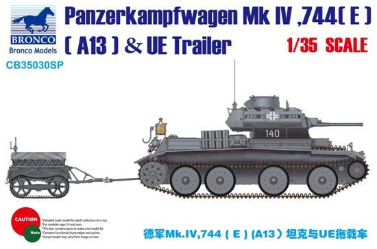 BOM35030SP, German Panzerkampfwagen Mk IV 774(E) (A13) Tank & UE Trailer