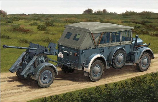 BOM35209,   Mittlerer Einheits PersonenKraftwagen(m.E.Pkw) Kfz12(Early Version) & 2.8cm sPzB41 On Larger Steel-Wheeled Carriage w/Trailer Sd.Ah.32/2
