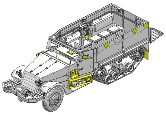 This 1/35 scale kit inherits the excellent foundational features of Dragon's model of a WWII American M3 halftrack. However, it has been suitably modified to represent an Israeli M3 in the period of the Six-Day War. For example, there is a new machine gun mount above the front windscreen armor. A typical characteristic of Israeli halftracks was the mass of backpacks and kit stowed on and dangling off the sides of vehicles. This flurry of equipment is perfectly captured with a range of kit accessories made from DS, the ideal material to make such items from. This is a highly detailed and realistic model of an M3 halftrack fighting during the bitterly contested Six-Day War. Indeed, because such halftracks were used long before and after the 1967 conflict, this kit offers enormous modeling versatility too. It will definitely benefit any collection and will whet modelers appetites for even more Israeli subjects from Dragon's Six-Day War collection!