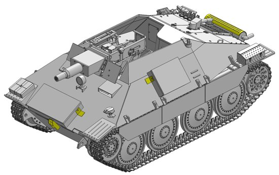 The new rendition of the Vollkettenaufklaerer 38 w/7.5cm Kanone 51 L/24 is wisely based on Dragon's recently released and highly accurate Hetzer-based kits, including their modified wheels and upper hull. To create this novel vehicle, the kit incorporates brand new elements such as a retooled fighting compartment with true-to-scale armored sides. There is a new stowage rack on the front of the hull, and another on the left-hand side of the hull, adjacent to a new antenna base. On the glacis plate, there is a new driver's vision port, hatch and headlight. Parts to depict the complete 7.5cm 24-caliber Kanone 51 gun are obviously included. The final result is a fascinating, attractive and little-known member of the Hetzer family. While it may not have entered production in WWII, Dragon has made it incredibly easy for modelers to produce their very own Hetzer scout vehicle.