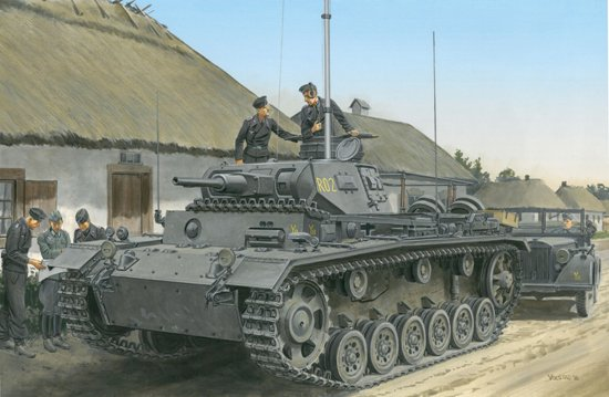 This new 1/35 SMART KIT of the Pz.Bef.Wg.III Ausf.H depicts a command tank fitted with its fixed turret and dummy gun. While it wisely utilizes parts from recent Panzer III kits, it also features entirely unique components. Indeed, this kit has a special appearance compared to other members of the Panzer III family tree. For example, it has a brand new turret, and the upper hull is also new. Because the turret was fixed rather than rotating, the cutout is differently shaped to the round shape needed for the usual turret race. Installed on the engine deck is a characteristic large frame antenna for the long-range radio, and the vehicle looks most impressive when the turret-mounted telescopic antenna is shown extended. This Panzerbefehlswagen III H is produced to the very best engineering levels. All in all, it represents a commanding performance, and fills a niche in Dragon's Panzer III lineup.