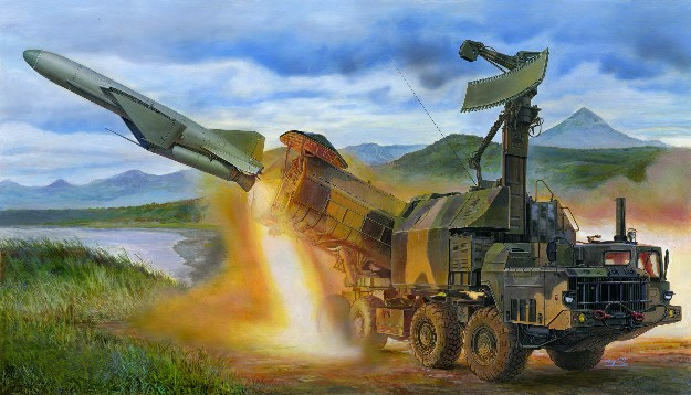 The Russian P-15 Termit was an anti-ship missile developed in the 1950s. The 4K51 Rubezh was one of the later variants of the weapon, developed in the 1970s for use in the Cold War. Based on the MAZ-543 high mobility truck, the vehicle was best known by its NATO designation, the SS-C-3 Styx. Kit consists of over 1,100 parts, including rubber tires, clear parts, cobber cable, and photo-etched parts.