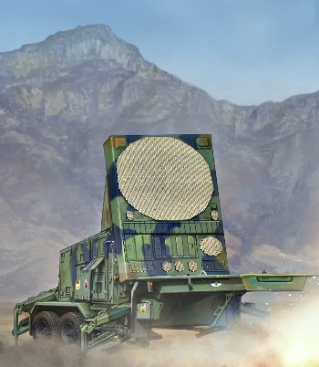 The MPQ-53 is a tracking radar system that sits on the same base used by the MIM 104 Patriot surface-to-air missile system. Used by the US Army, the radar set is equipped with IFF, electronic counter-counter measures. Kit consists of over 410 parts, including rubber tires and photo-etched parts.