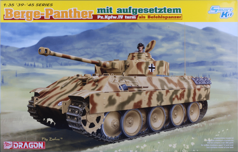 This kit is based on Dragon's previously released Panther and Panzer IV kits to create a Panther recovery vehicle converted into a command tank used with Heavy Tank Destroyer Battalion 653 (s.Pz.Abt. 653) on the Eastern Front in 1944.