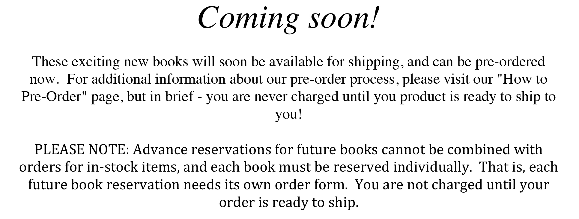Simply click the cover that interests you, and when the next page opens, click 'additional info' for the product details and the reservation link.