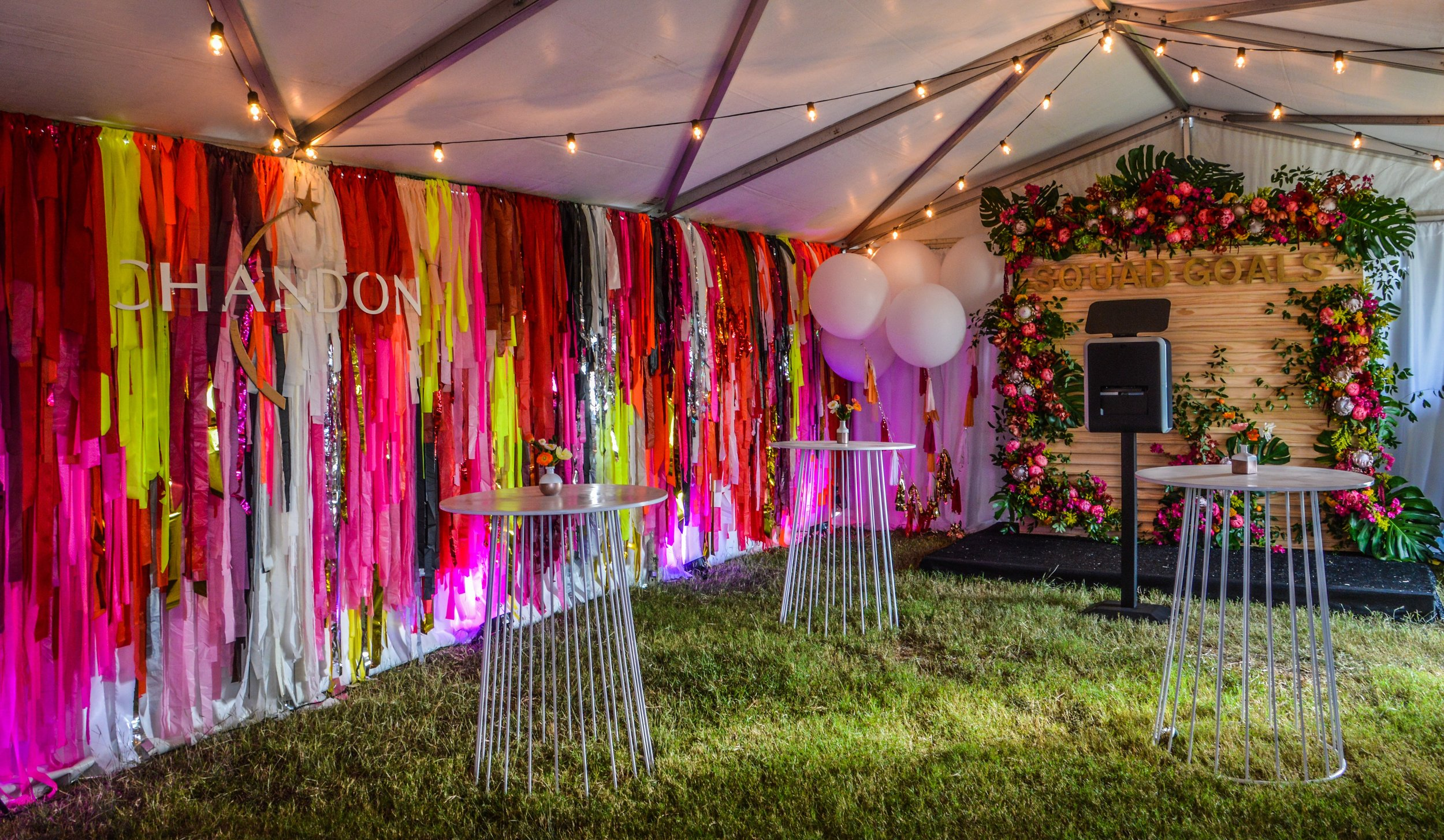 Custom Floral photo booth for Chandon at Formula 1