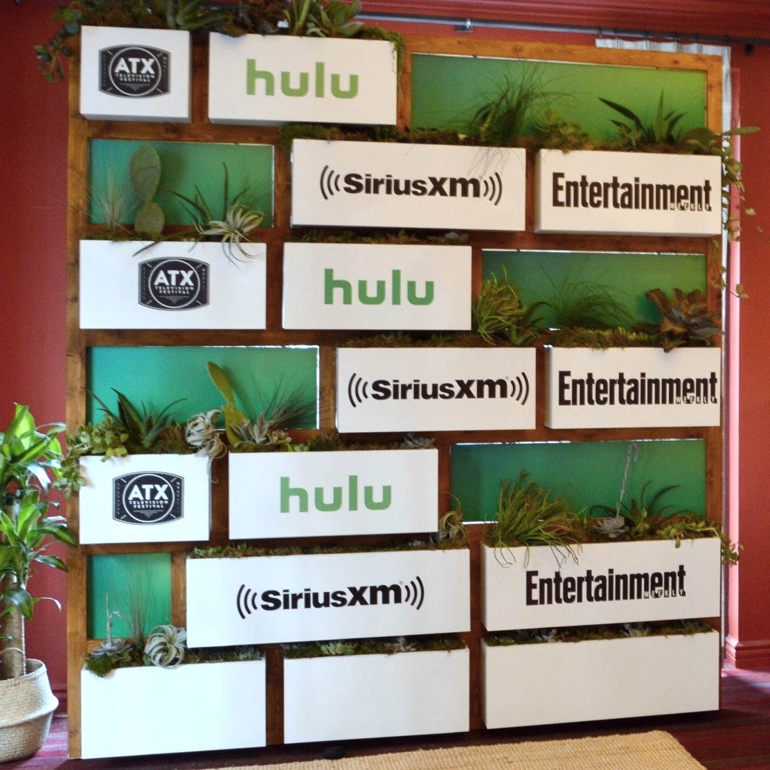 Custom plant step and repeat fabrication piece for Hulu VIP Room ATX Television Festival
