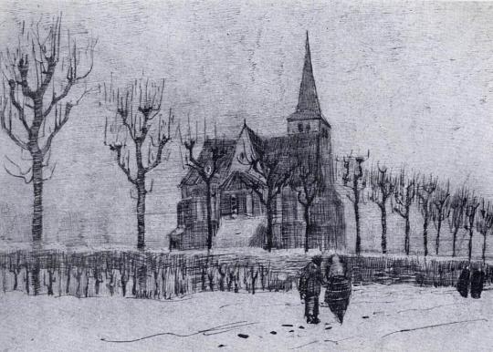 """Vincent Van Gogh, 'The Church in Neunen in Winter"""", 1883"""