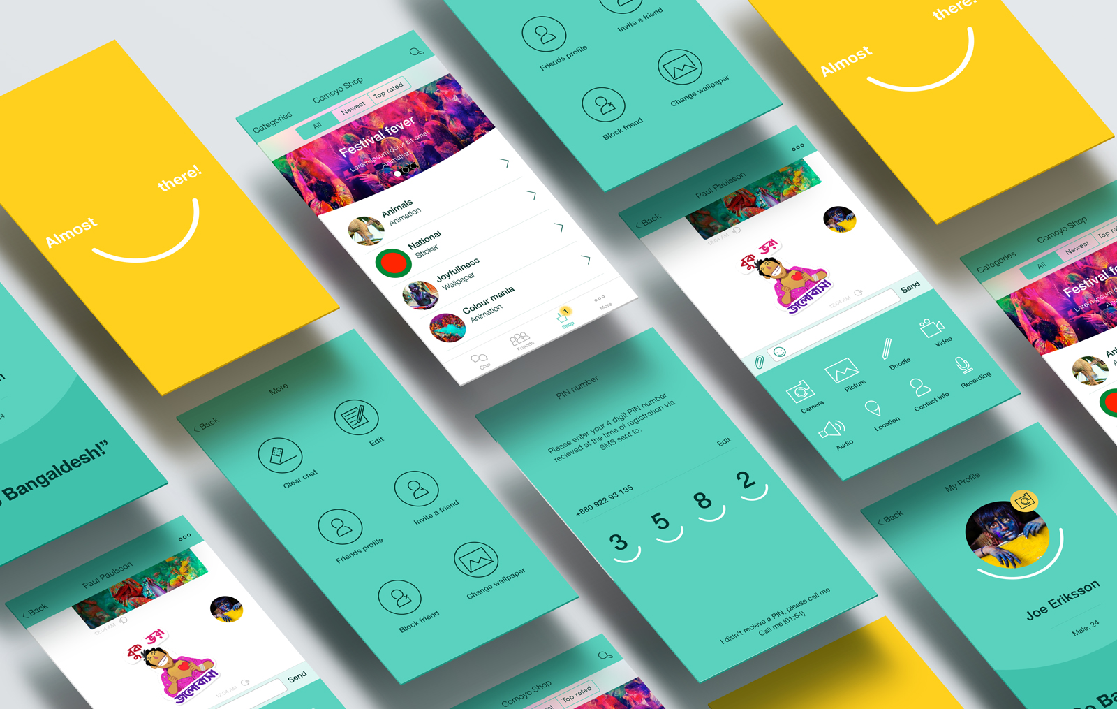 → Screens from the Comoyo App