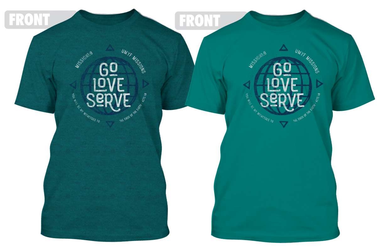 In the image above, the shirt on the left is the color of the adult-sized shirts (antique jade) and the shirt on the right is the color of the youth-sized shirts (jade).