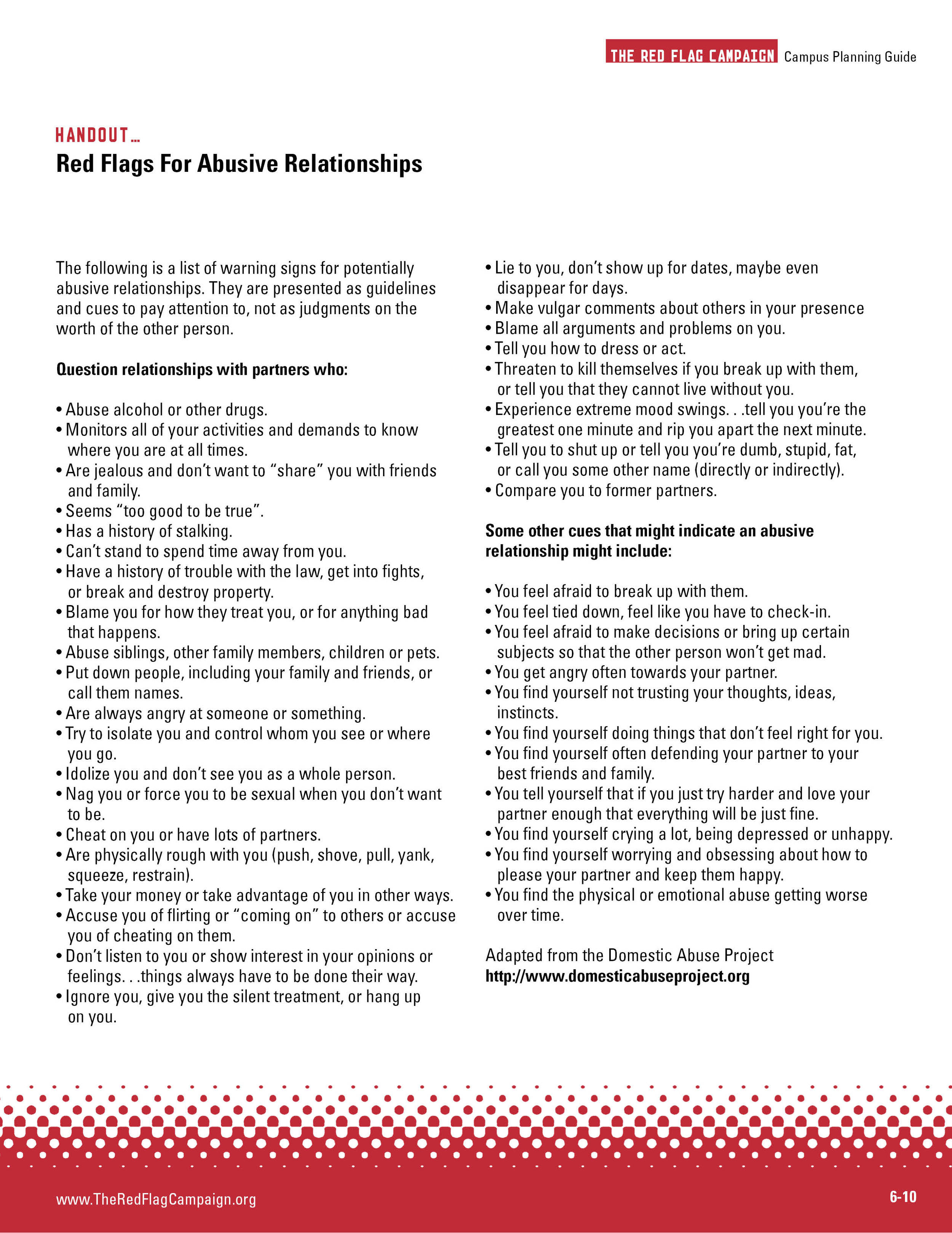 Red Flags for Abusive Relationships