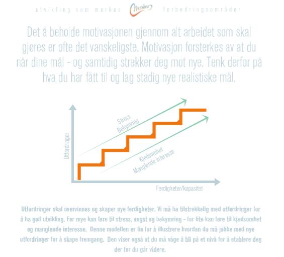 Denne trappa har vi laget for å vise sammenhengen mellom hvordan motivasjonen påvirkes av din fremgang. Det å lykkes er kanskje den sterkeste måten å skape langvarig motivasjon.