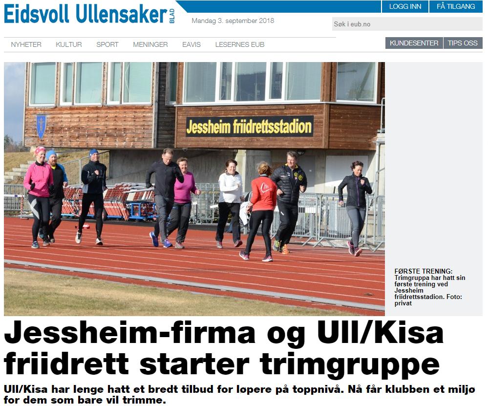 Artikkel i Eidsvoll Ullensaker Blad om vårt samarbeid med Ull/Kisa og lavterskel trimgruppe hver mandag kl. 18:00.