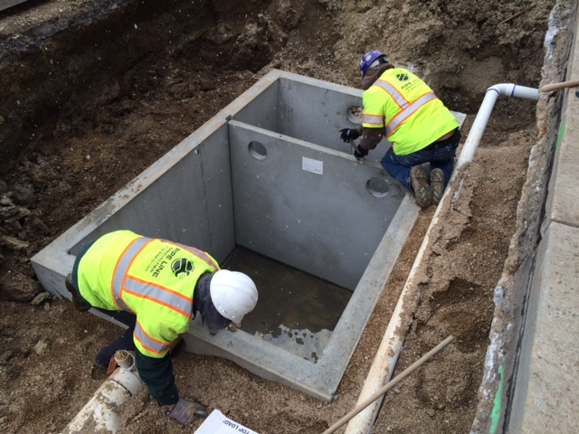 Precast Install for Shop Drainage Project