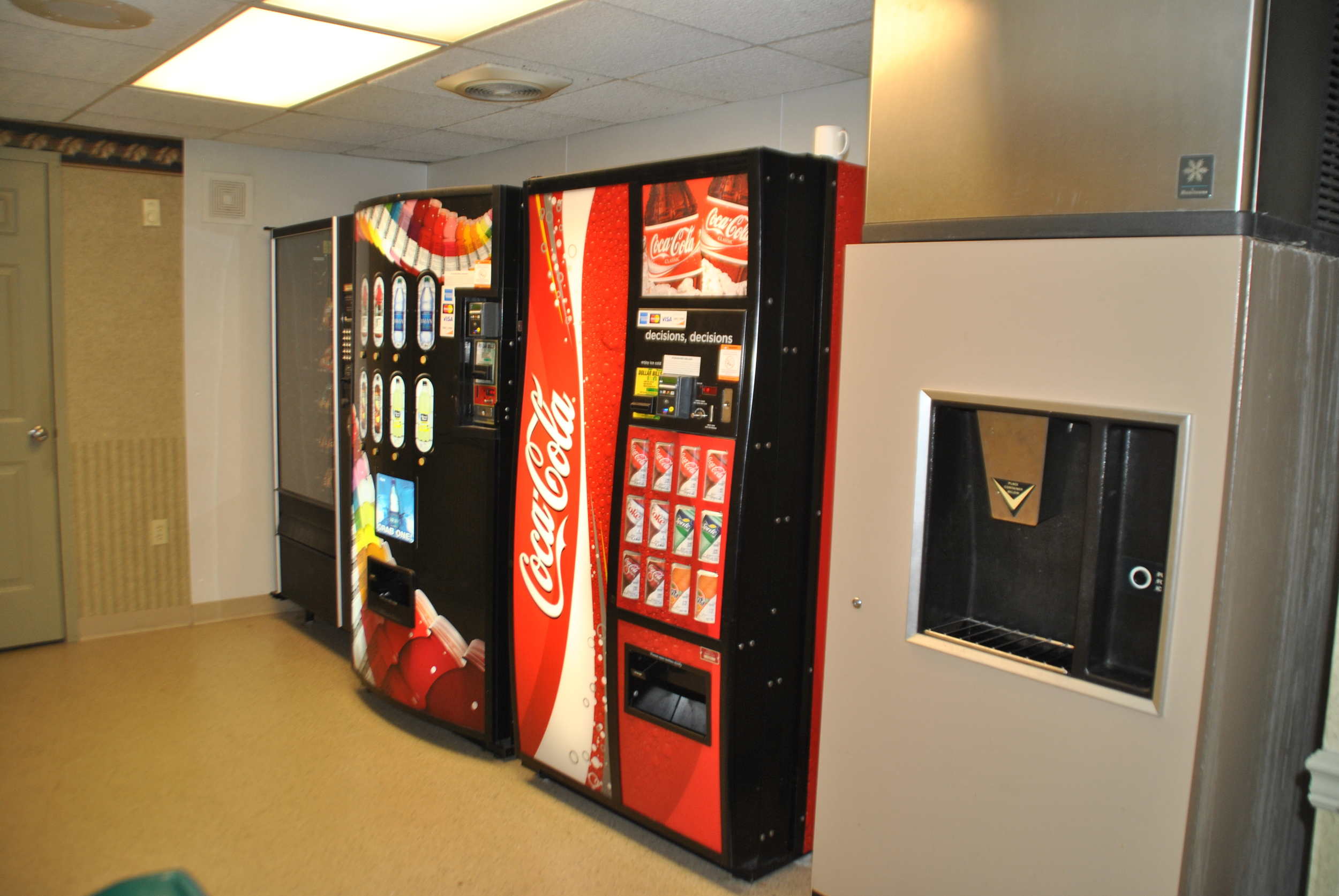 Vending and Ice Machines next to the Elevator