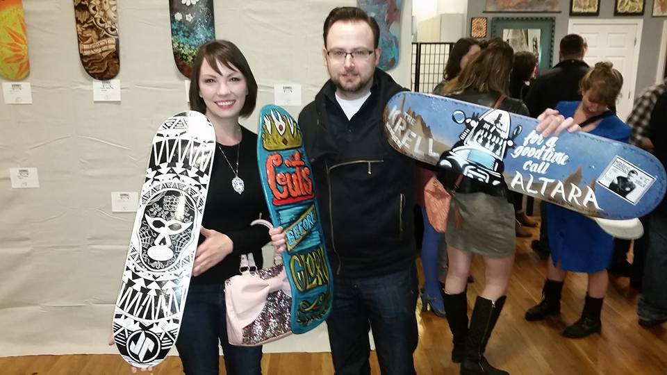 My skateboard being purchased at the Roanoke Skatepark Initiative Skatedeck Auction