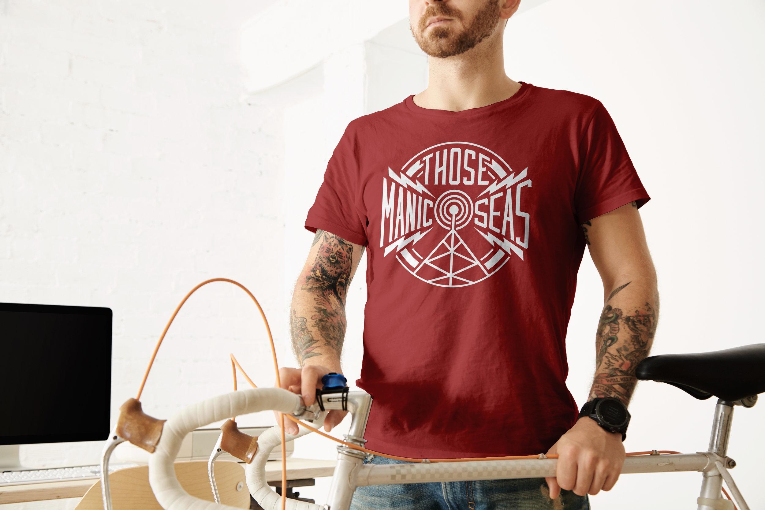 Red Band Shirt Design, Those Manic Seas, Radio Tower,   Idaho Utah Designer www.facelesscreativeco.com