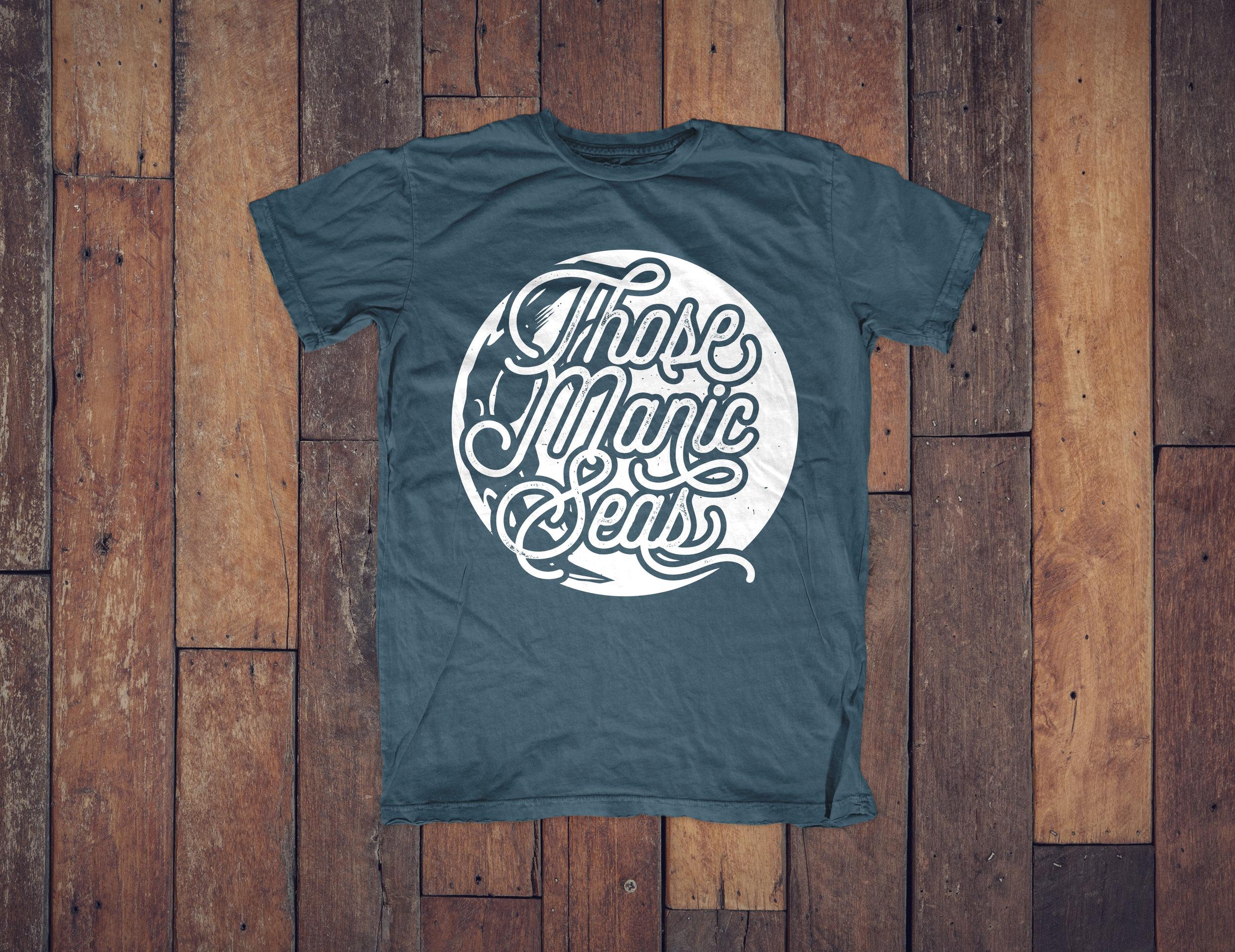 Blue Band Shirt Design, Those Manic Seas, Moon Design   Idaho Graphic Designer www.facelesscreativeco.com