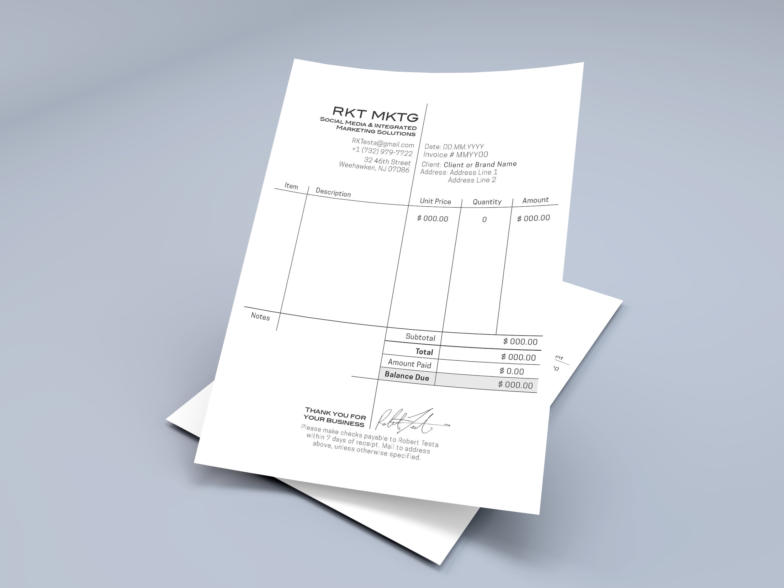 The re-designed invoice plays with the long line going from the logo on top through the description of the work done and down to the CEO's signature as a quality seal.