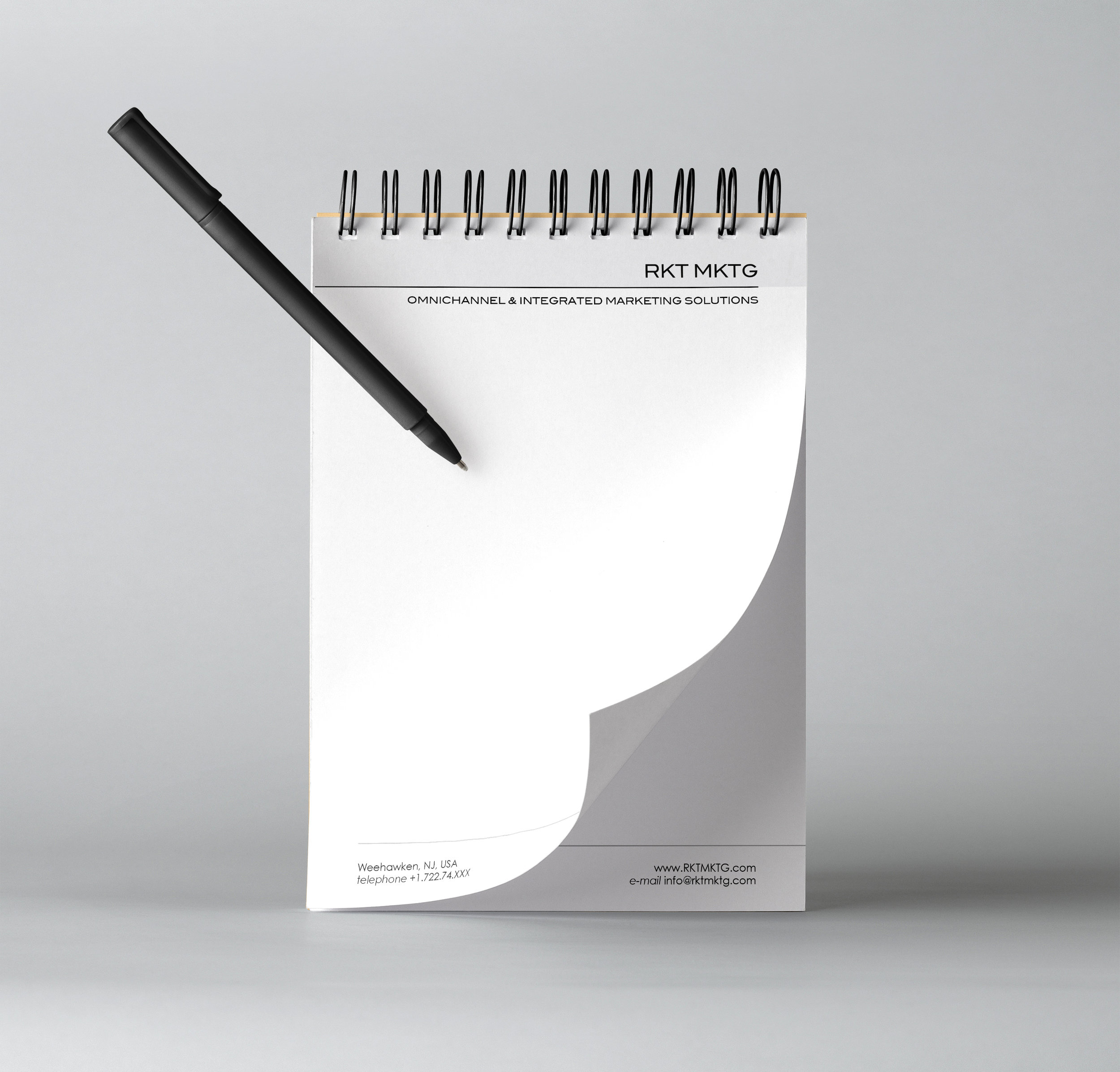 Notepad design. The same page layout was used for the letterhead.