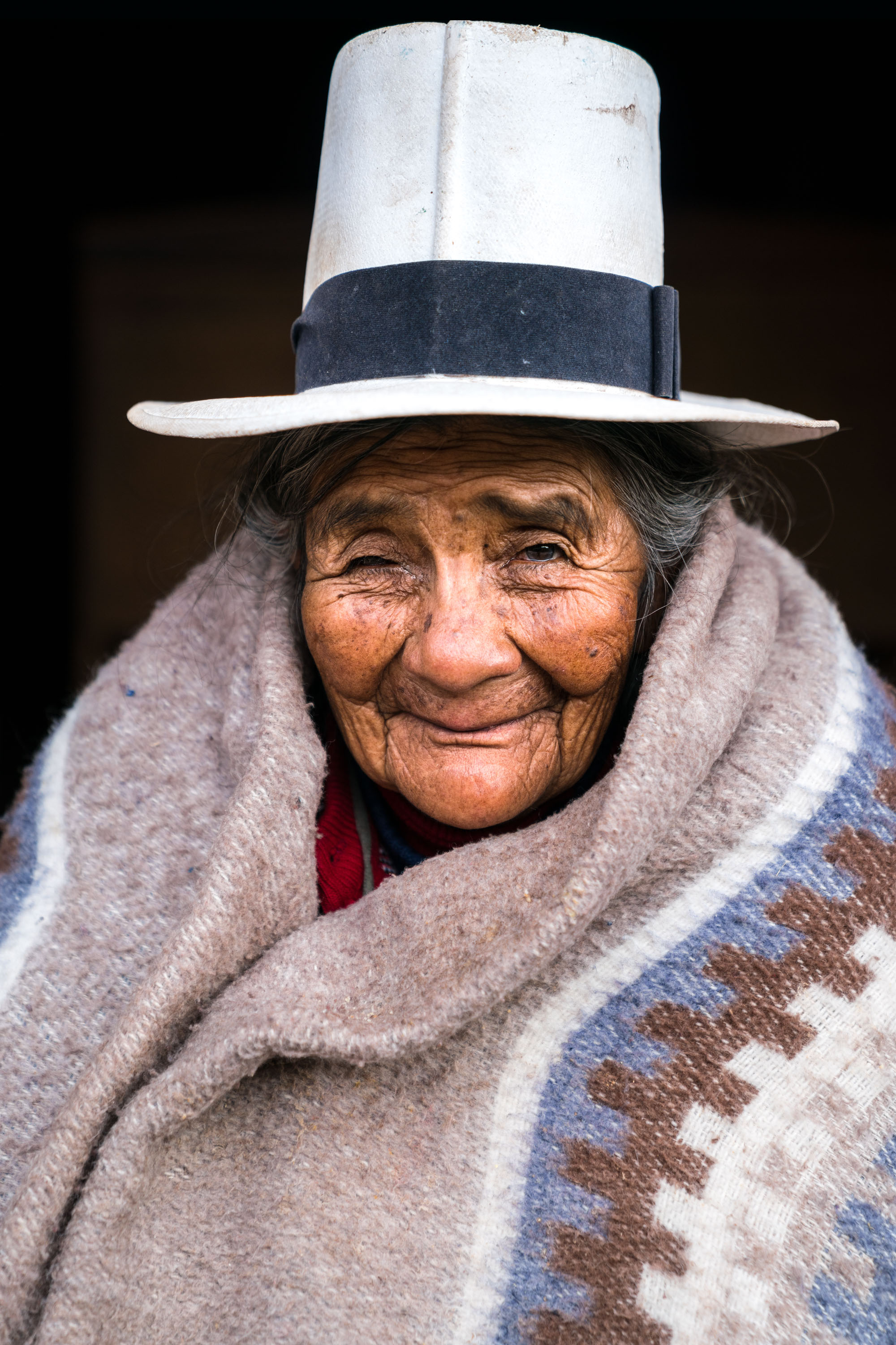 Elderly Peruvian woman portrait. Cusco Downtown, Peru