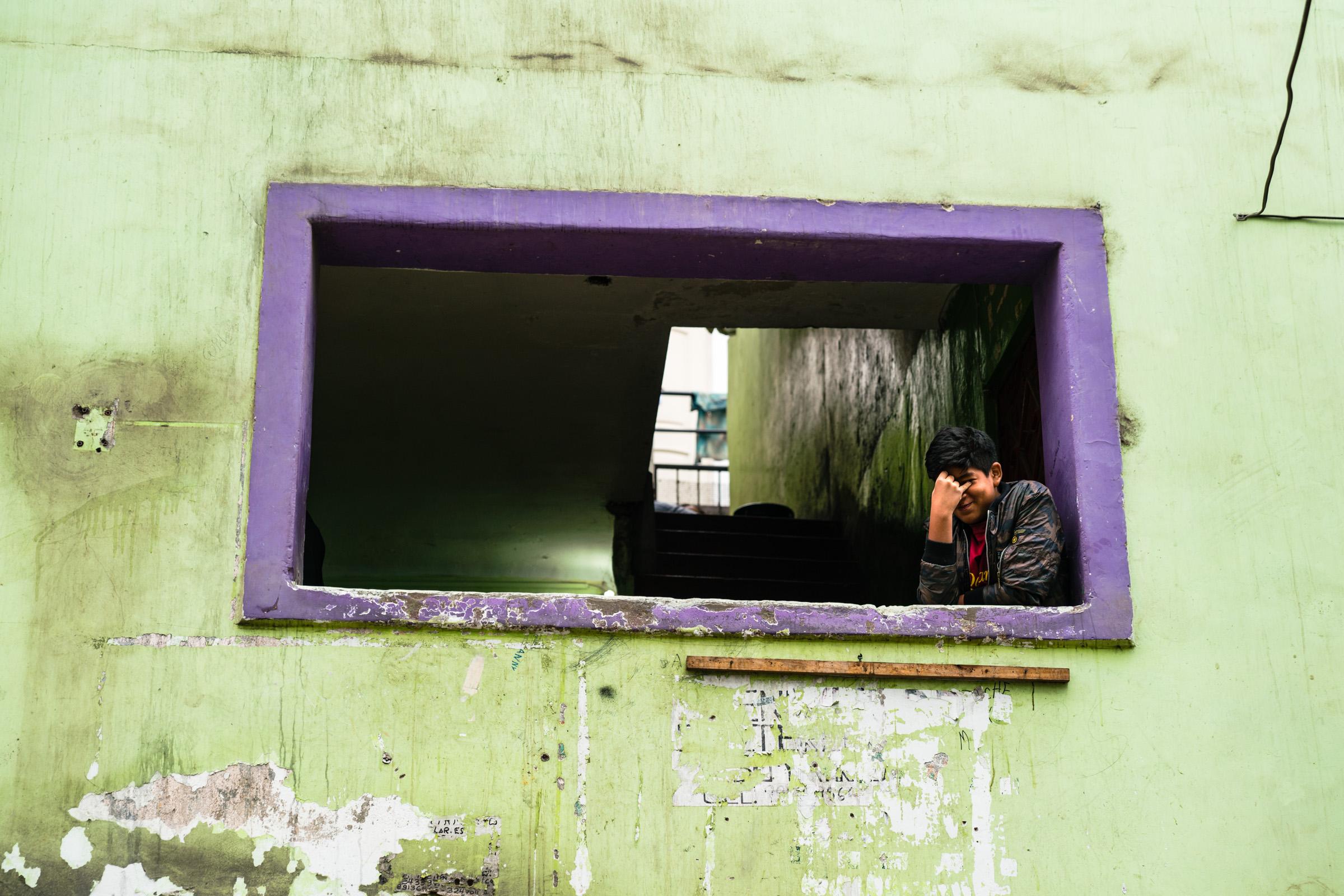 Camera Shy in Gamarra, Lima. Peru
