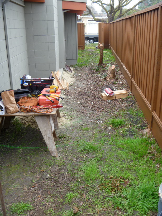 Sideyard before- muddy, and not very useful.
