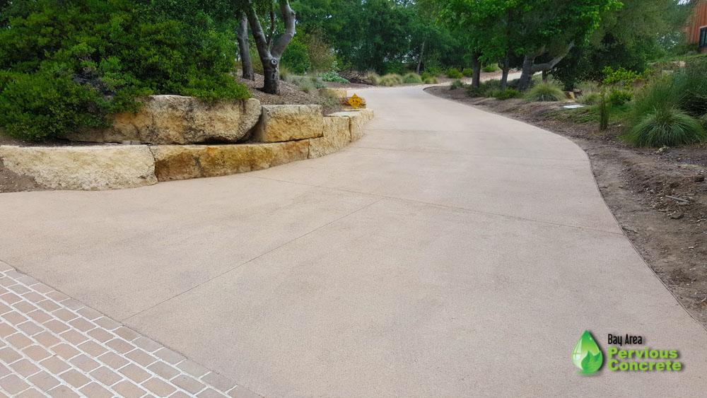 Fine Grain, Classic Pervious Concrete with Palomino Driveway - Portola Valley, CA