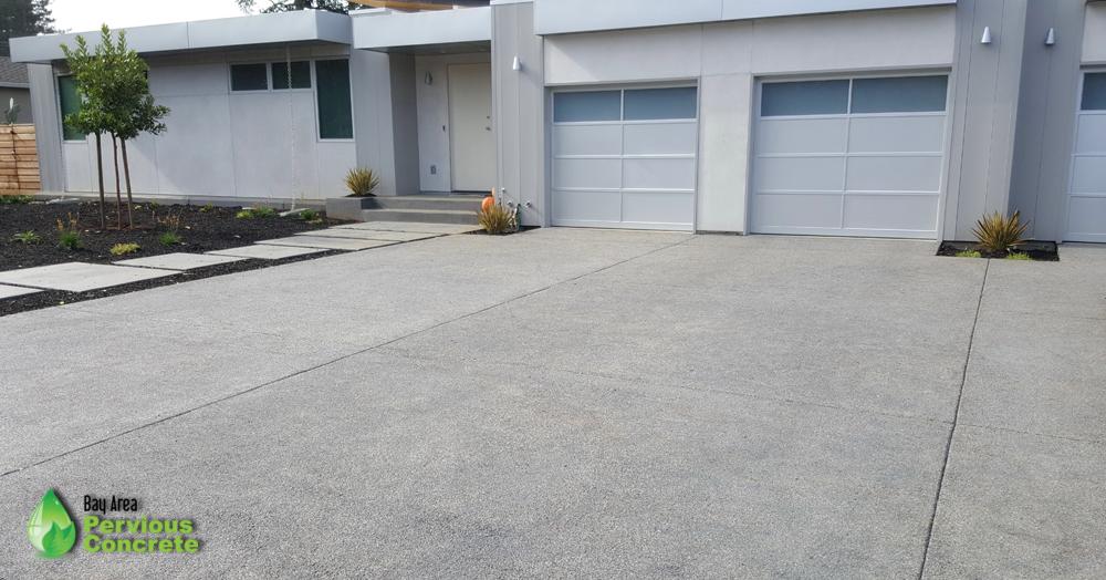 Polished, Fine Grain Pervious Concrete Driveway - Los Altos, CA