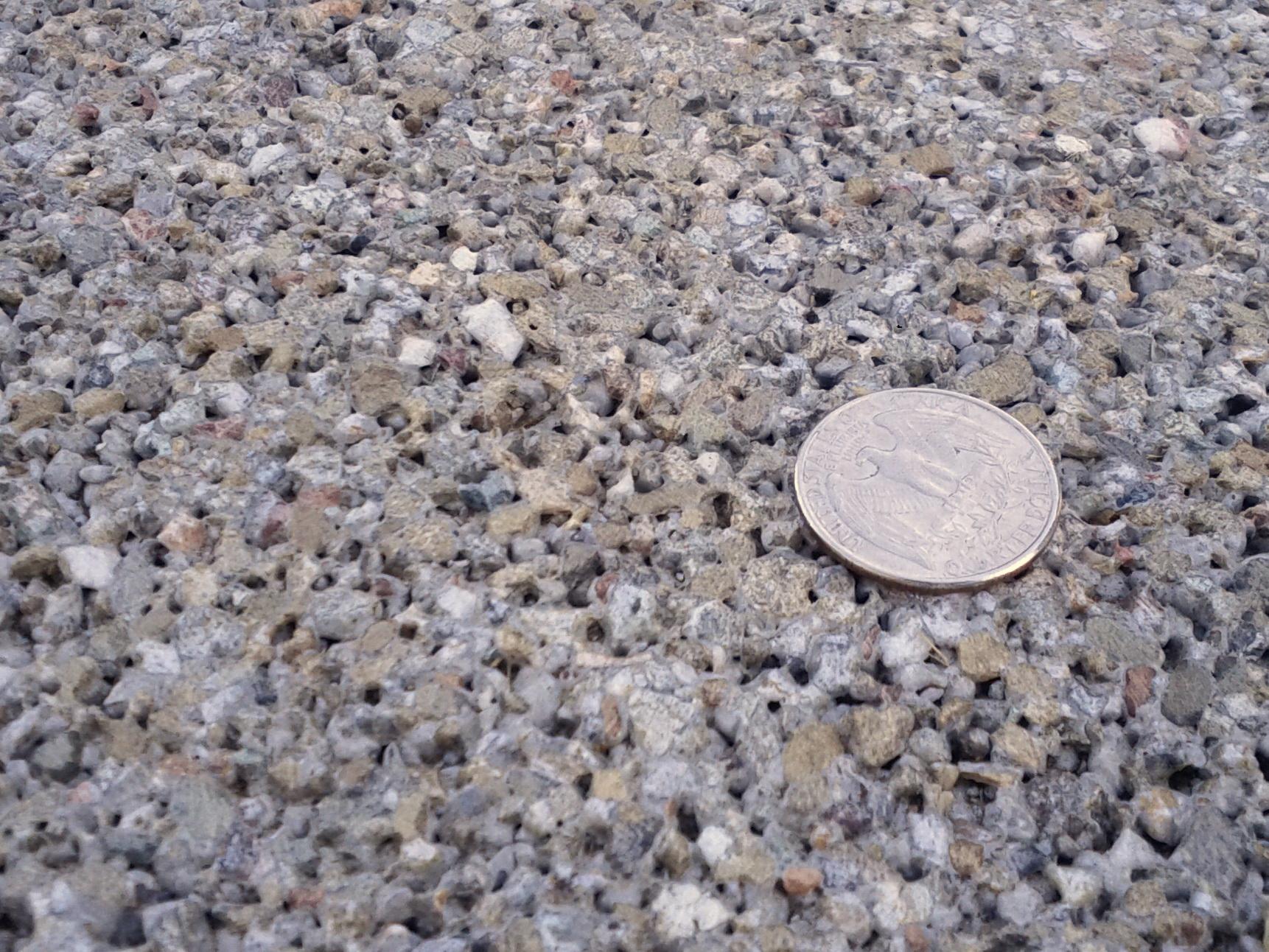 Decorative Polished Pervious Concrete - Local fine grain aggregate