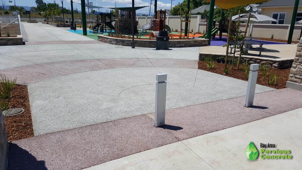 Tamien Park- Colored, Classic Pervious Concrete Park - San Jose, CA