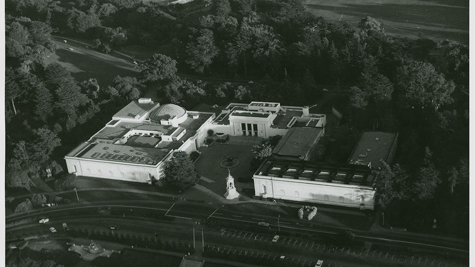 Aerial photo of historic California Academy of Sciences. Source: California Academy of Science
