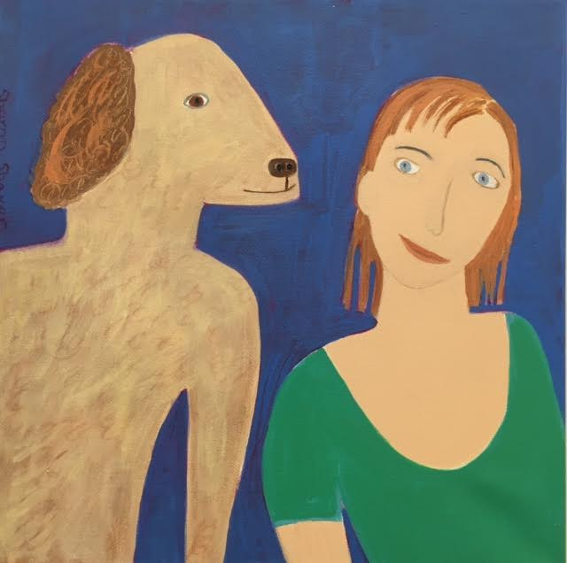 "IVAN & SASHA acrylic/canvas   10""H X 10""W Sharon Shaver   $ 225."