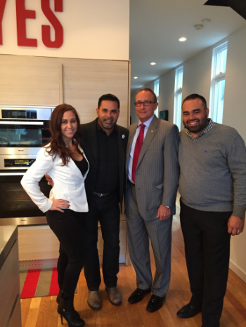 Rocky Caylor with Ozzie Guillen Sr., OzzieGuillen Jr.and Erica Takach, Senior Partner with New York Life.