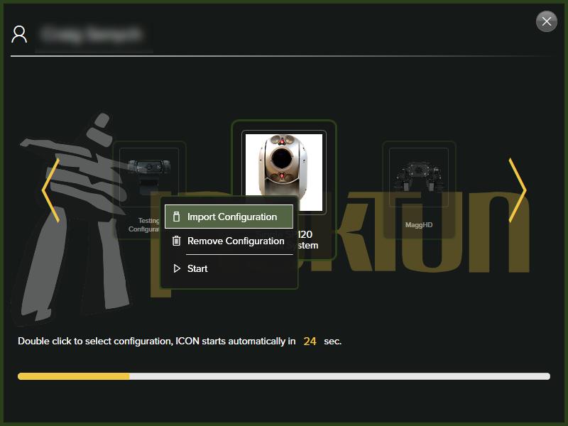 ICON Import Configuration Screen